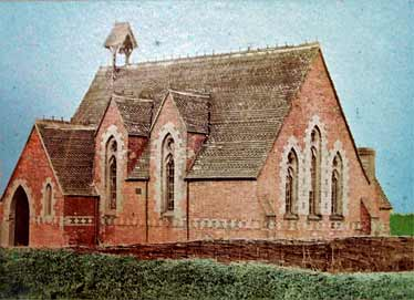 a false-colour photograph of the church as it may have appeared before the tower, side aisle and chancel were added