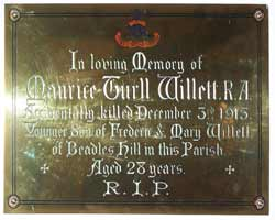 Metal wall plate commemorating the death of Maurice Turll Willett