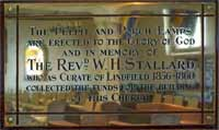 Plaque commemorating Rev. W H Stallard