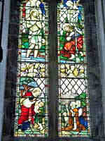 the stained glass window in the tower by A A Orr